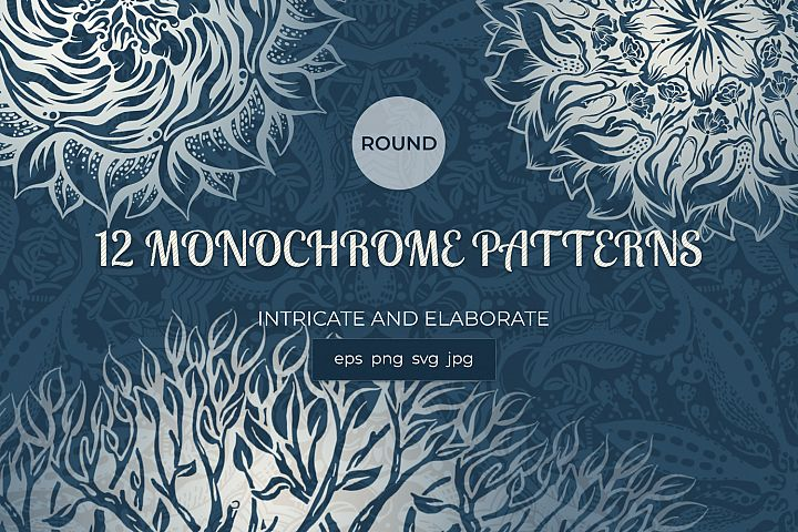 A collection of round hand-drawn patterns