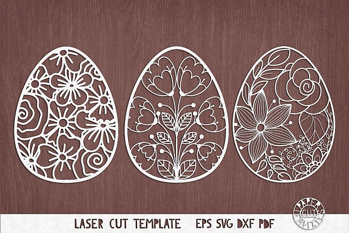 SVG Set of flower easter eggs for laser cutting, Cricut.
