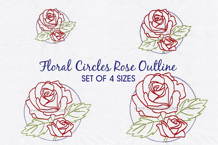 Floral Circle Rose Outline Machine Embroidery Design