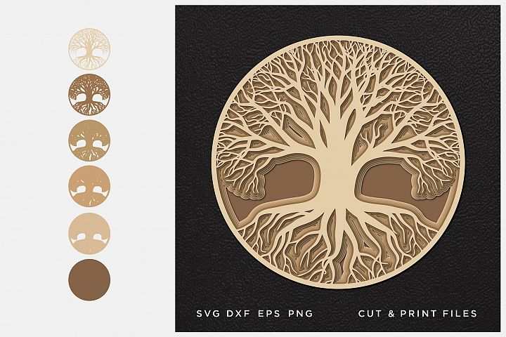 Tree of Life svg, Cut file Mandala, Multilayer, Layered svg