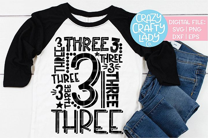 3rd Birthday Collage Typography SVG DXF EPS PNG Cut File