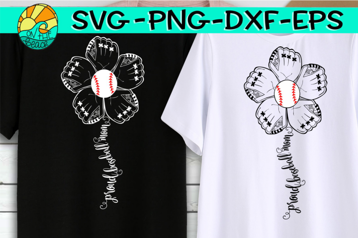 Baseball Mom - Flower Mitt - SVG - DXF - EPS - PNG