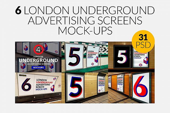 6 London Underground Ad Screen Mock-Ups Bundle / 31 PSD