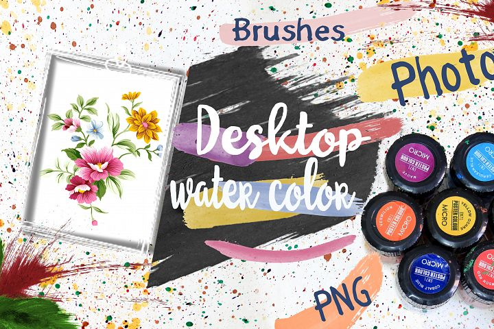 Water Color Bacground and Brushes