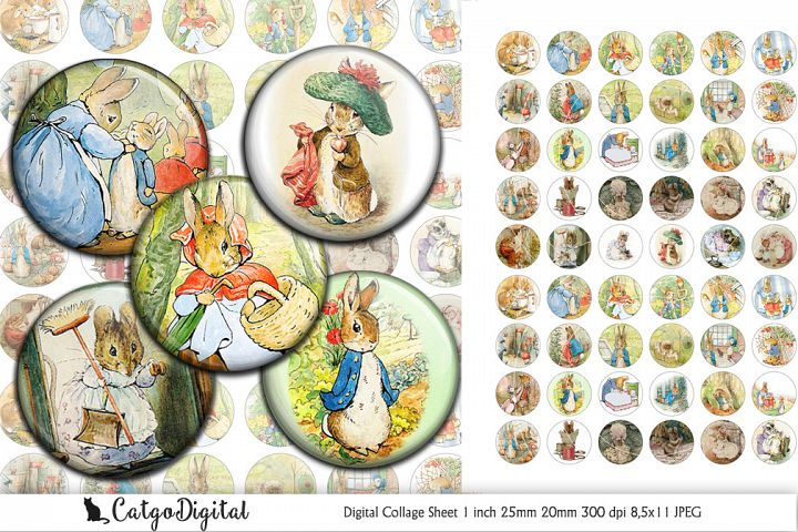 Beatrix Potter Circle printable images Digital Collage Sheet