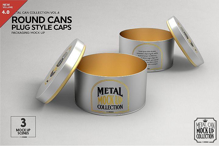 Round Cans Plug Metal Cap Mockup