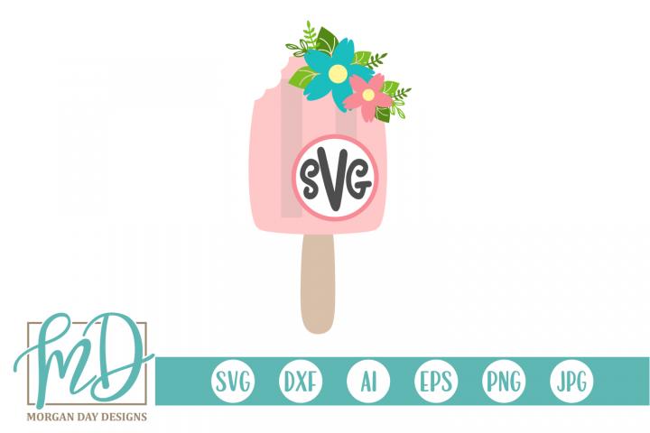 Monogram SVG - Floral SVG - Summer - Popsicle SVG