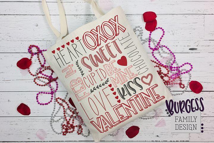Valentines Day rectangular Subway Art | Cuttable & Printable