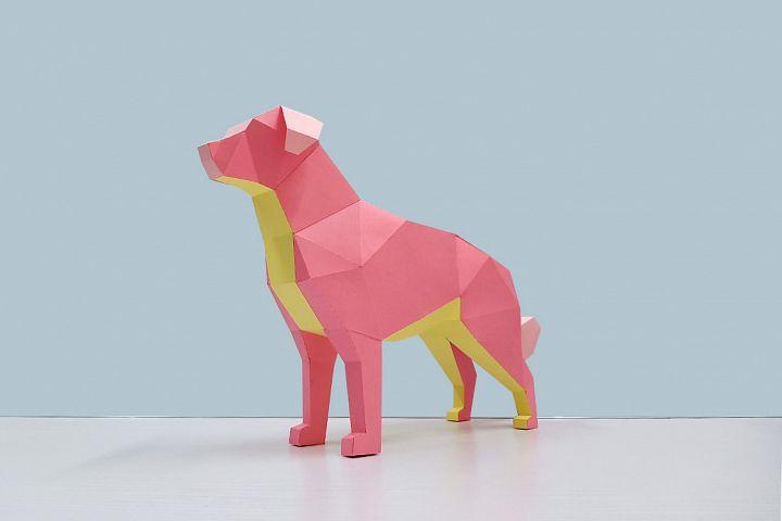DIY Papercraft Golden retriever sculpture,3d Papercraft dog