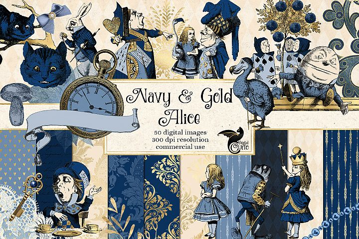 Navy Blue and Gold Alice in Wonderland Graphics