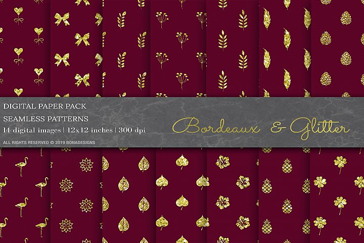 Bordeaux Glitter Digital Papers, Wedding Invitation Papers