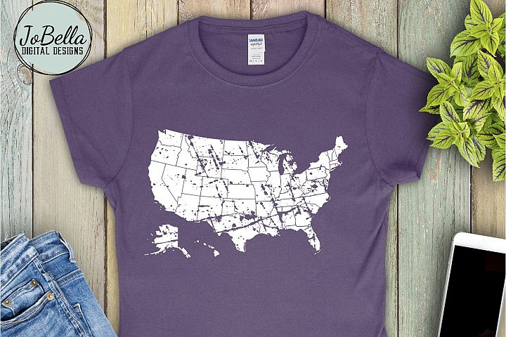 Distressed United States Map SVG and Printable