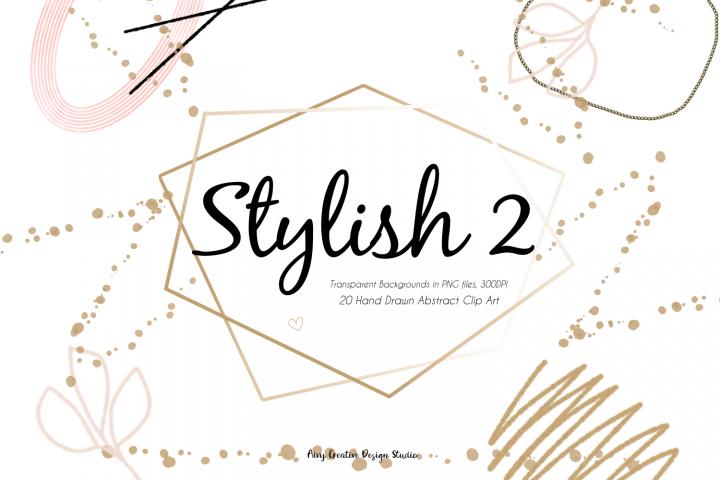 20 Hand Drawn Stylish 2 Abstract Clip Art Bundle