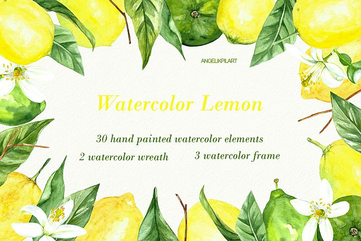 watercolor lemon set