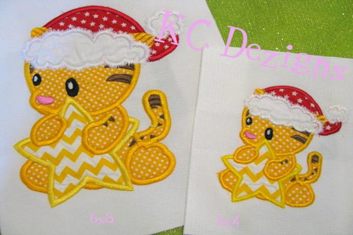 Christmas Baby Tiger Machine Applique Embroidery Design