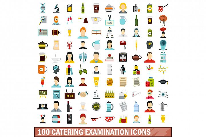 100 catering examination icons set, flat style