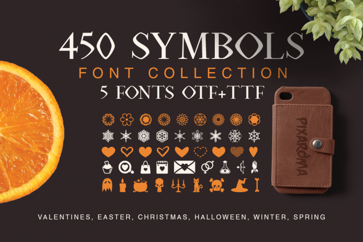 Symbols Font Collection - 450 Elements - Free Font of The Week Font