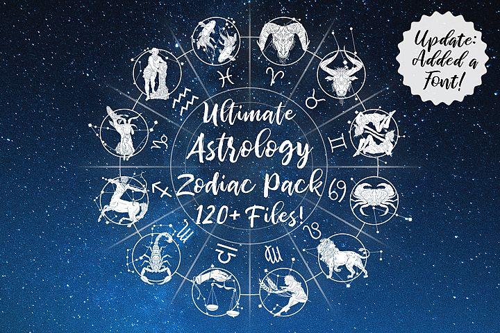 Ultimate Astrology Zodiac Bundle! SVG, PNG, 120 Files!