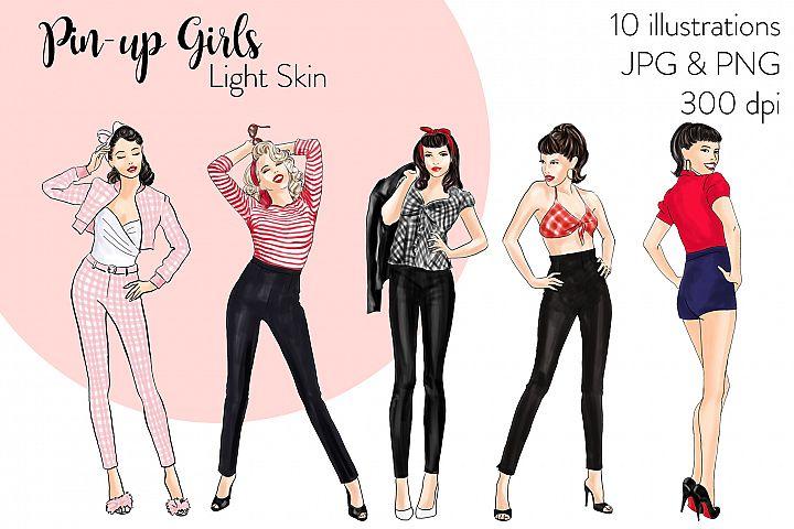 Fashion illustration clipart - Pin up Girls - Light Skin