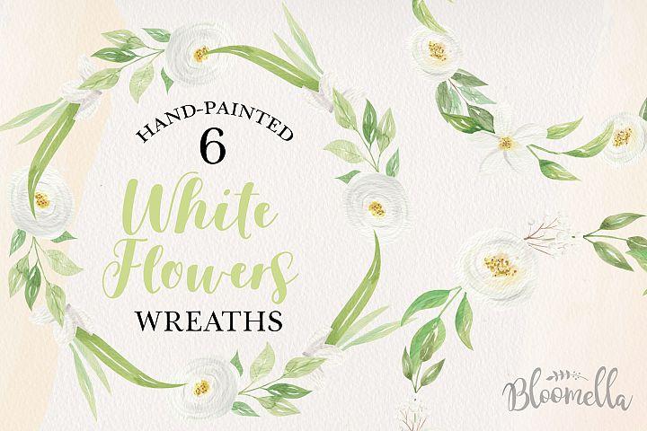 White Flowers Leaf Floral 6 Wreath Watercolor Flower Pretty