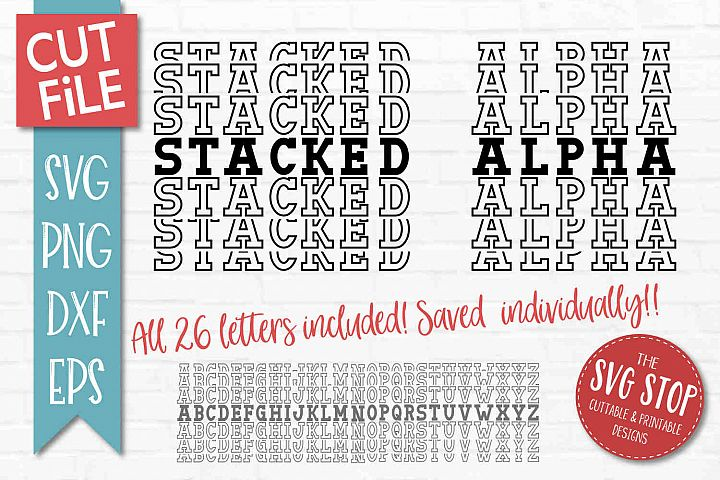 Stacked Mirror Alphabet Font - SVG, PNG, DXF, EPS