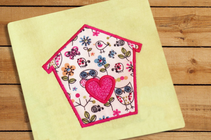 Bird House with Heart Applique Embroidery Design