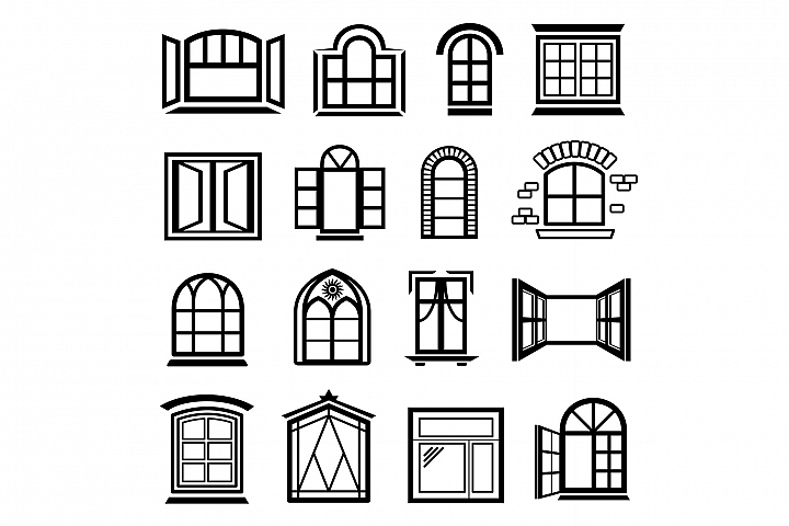 Window design icons set, simple style