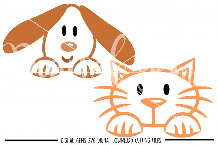 Peeping Cat and Dog SVG / PNG / EPS / DXF Files