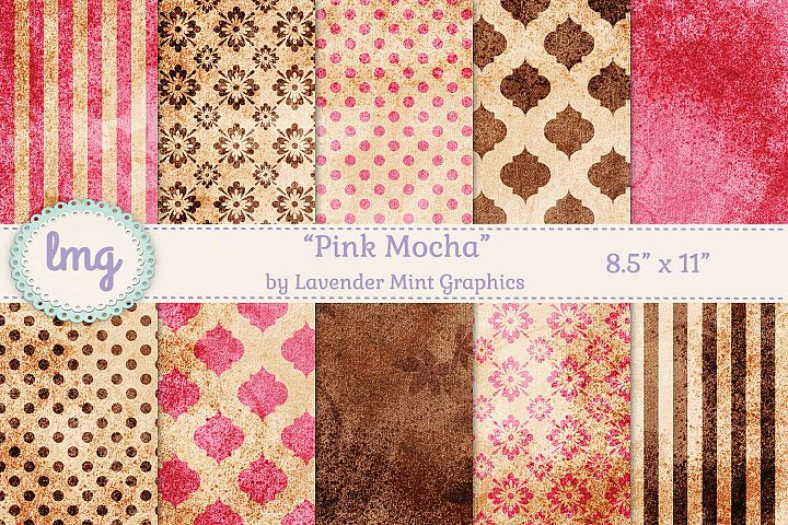 Pink and Brown Textured Mocha Digital Journal Size Papers