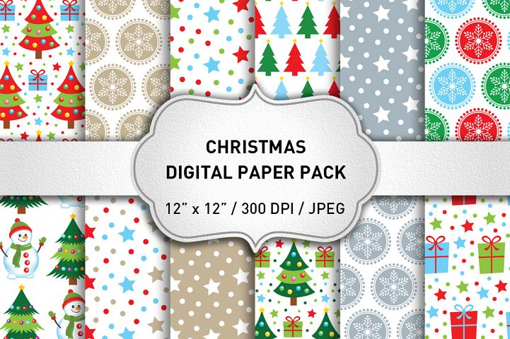Christmas Digital Paper Pack / Christmas Background / Scrapbooking / Card Making / Patterns / Printables