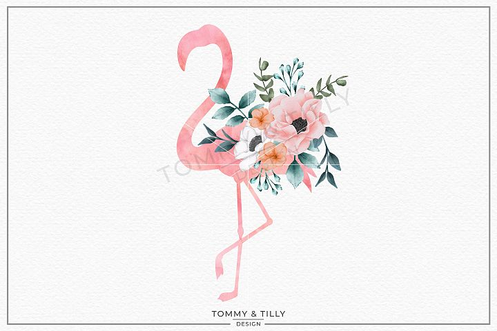Flamingo Watercolour Silhouette - Sublimation PNG Clipart