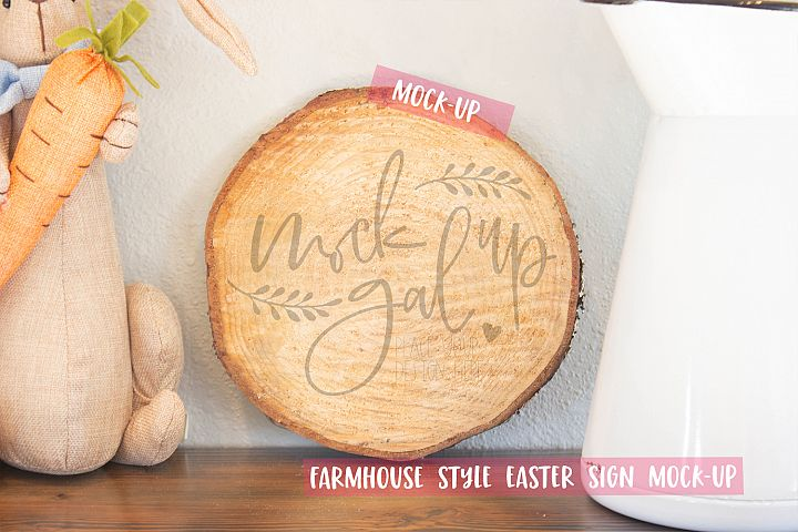 Easter Sign Mock Up - Round Wood Slice No. 5 - Spring Mockup