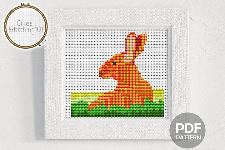 Rabbit in Grass Cross Stitch Pattern - Instant Download PDF