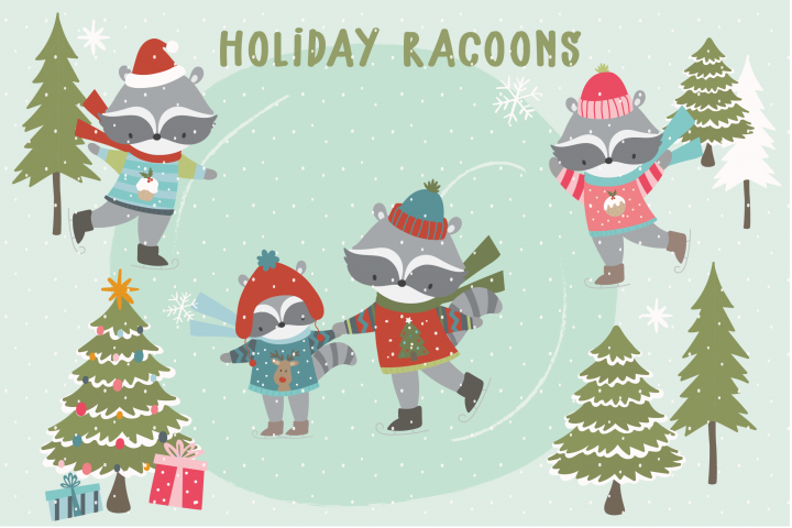 Holiday Racoons clipart and papers.