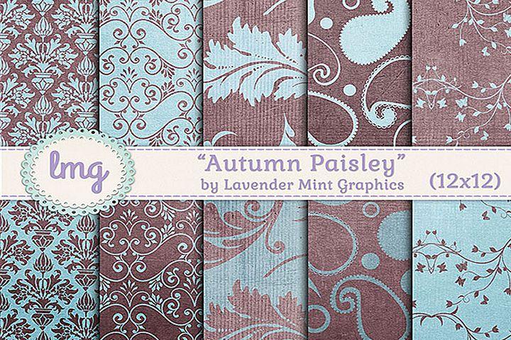 Autumn Paisley Digital Paper