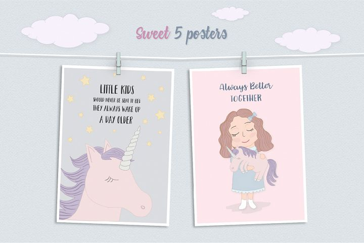 Cute Funny Unicorn Illustration Set - Free Design of The Week Design 1