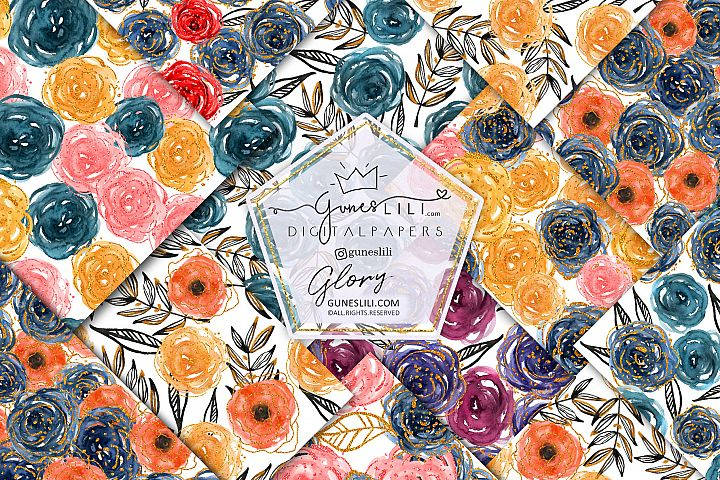 Watercolor Rose Digital Paper Pack Floral Seamless Pattern