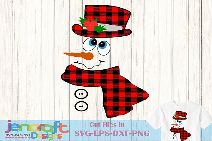 Buffalo Plaid Snowman - Christmas Snowman Face SVG
