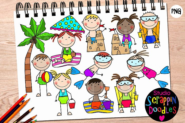 Beach Stick Kids Clip Art
