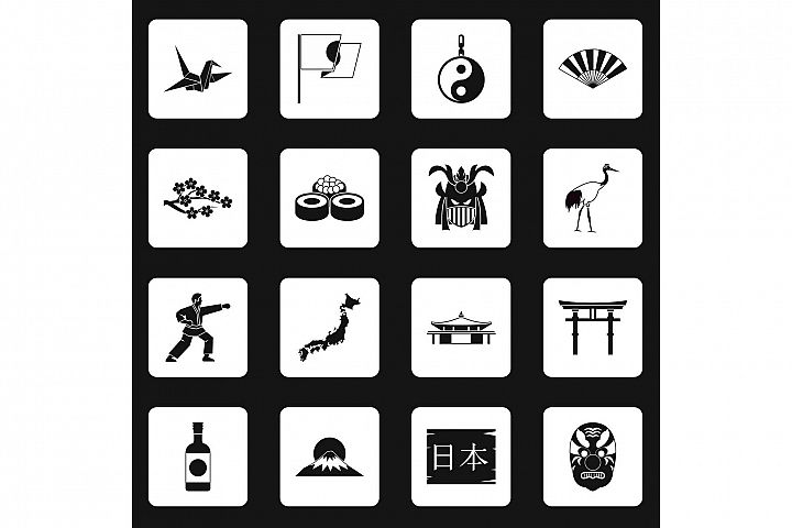 Japan icons set squares vector
