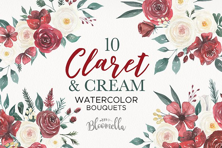 Watercolor Floral Deep Red Cream 10 Bouquets Flower Burgundy