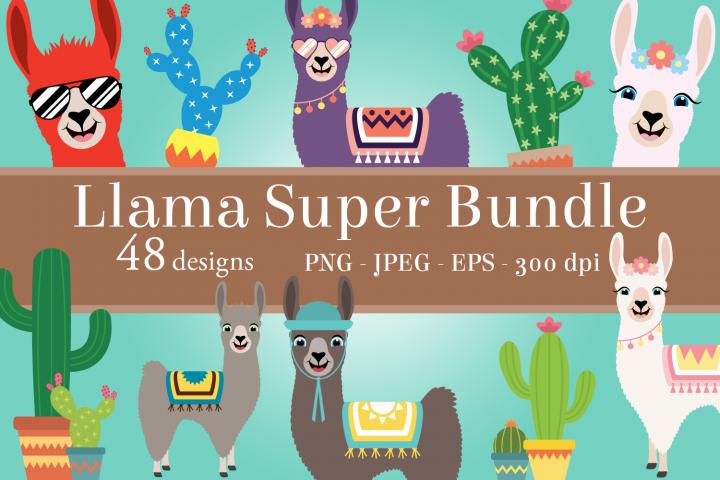 Llama Clipart Super Bundle, Fun Cacti, PNG, JPEG, EPS