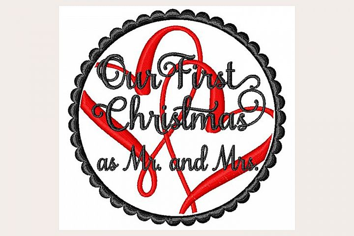 Our First Christmas as Mrs & Mr - Machine Embroidery Design