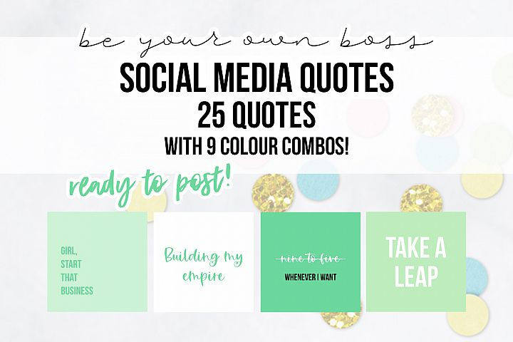 25 x Mint Green Be Your Own Boss Social Media Quotes