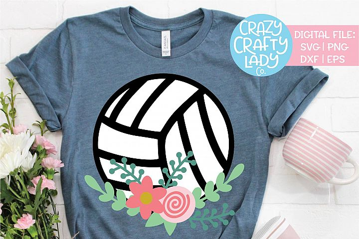 Floral Volleyball Sports SVG DXF EPS PNG Cut File