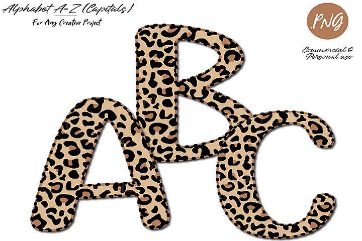 Leopard Alphabet clip art sublimation, leopard pattern