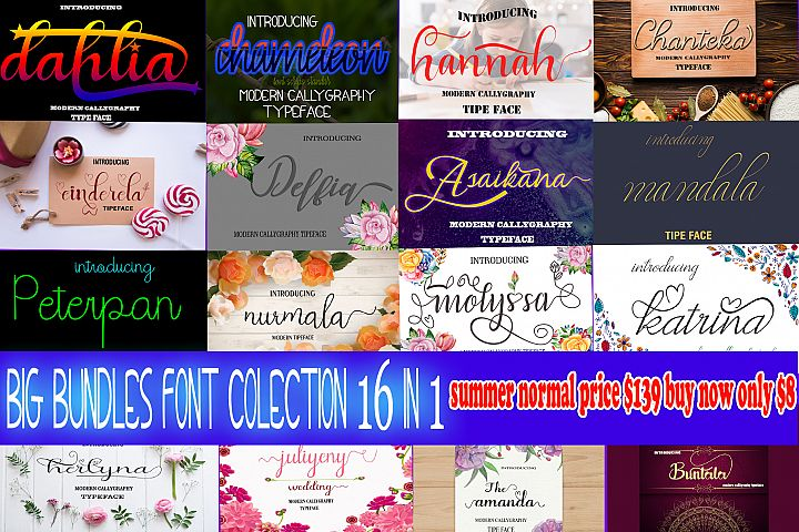 16 In 1 Font Colection 2018