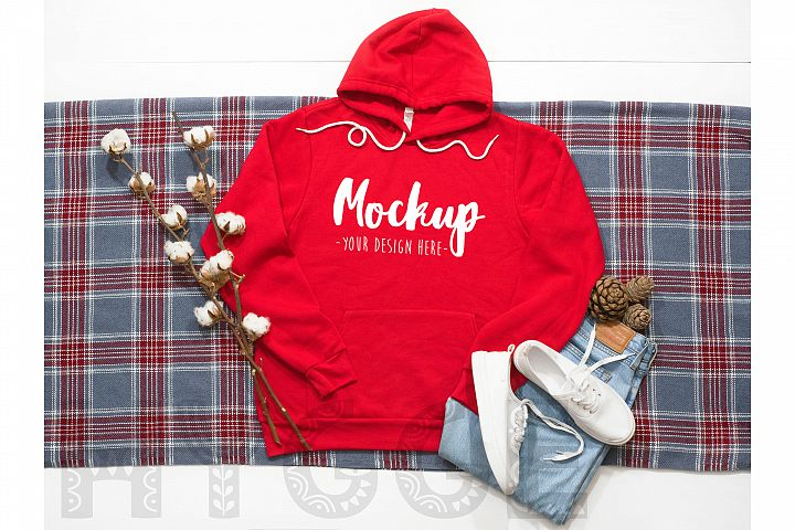 Hoodie Mockup Bella Canvas 3719 Red Winter Tshirt Mockup
