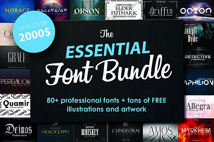 FONT BUNDLE - Over 80 professional fonts