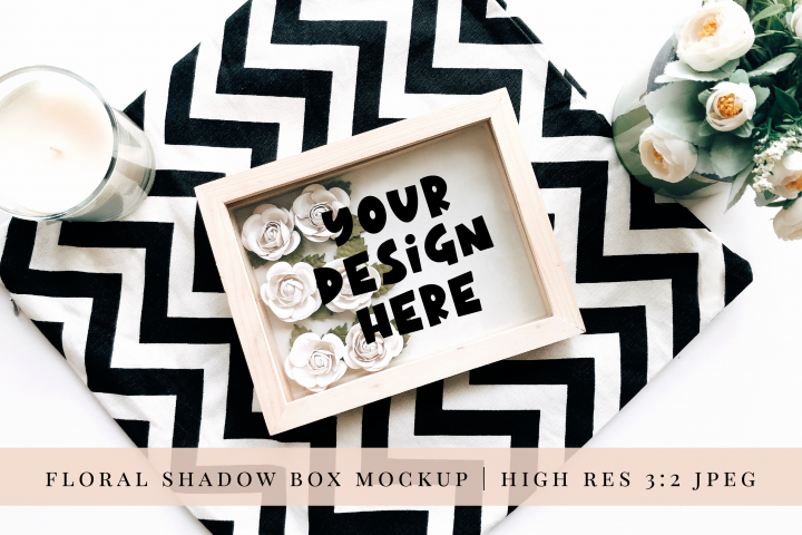 Paper Flower Shadow Box Mock up 2